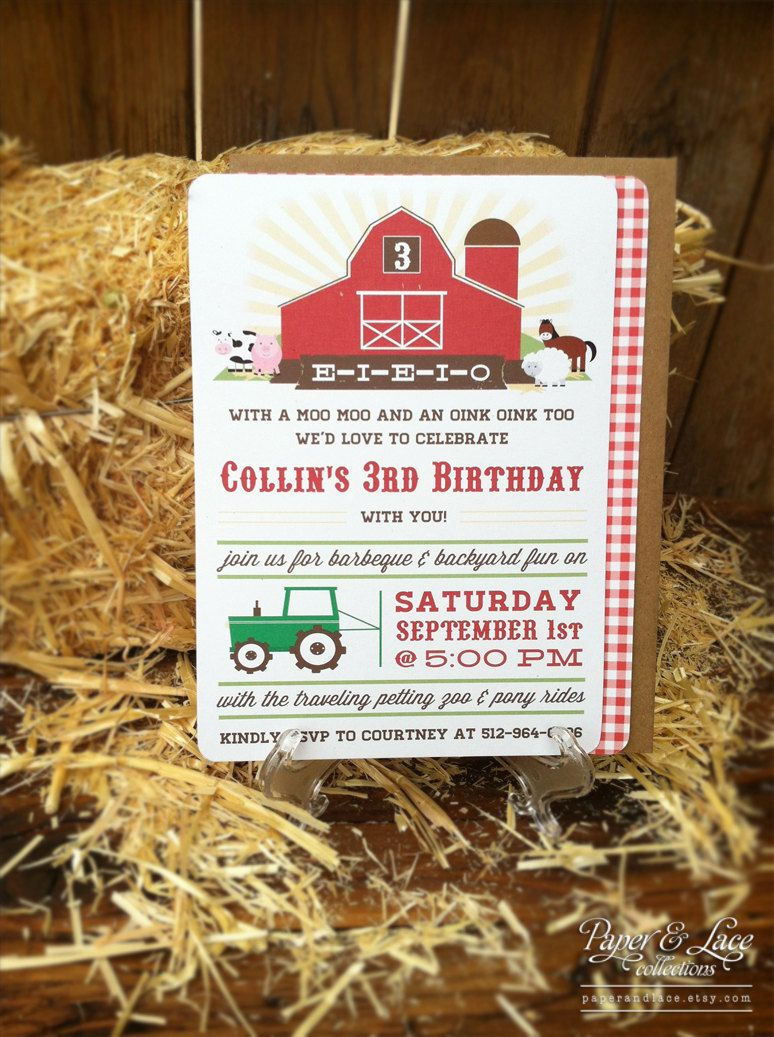 happy birthday invitation pictures%0A Farm Birthday Party Invitations by paperandlaceaustin on Etsy