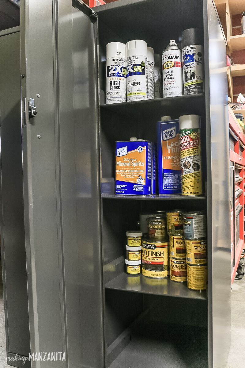 what to put in a locking storage cabinet to kidproof your garage rh pinterest com