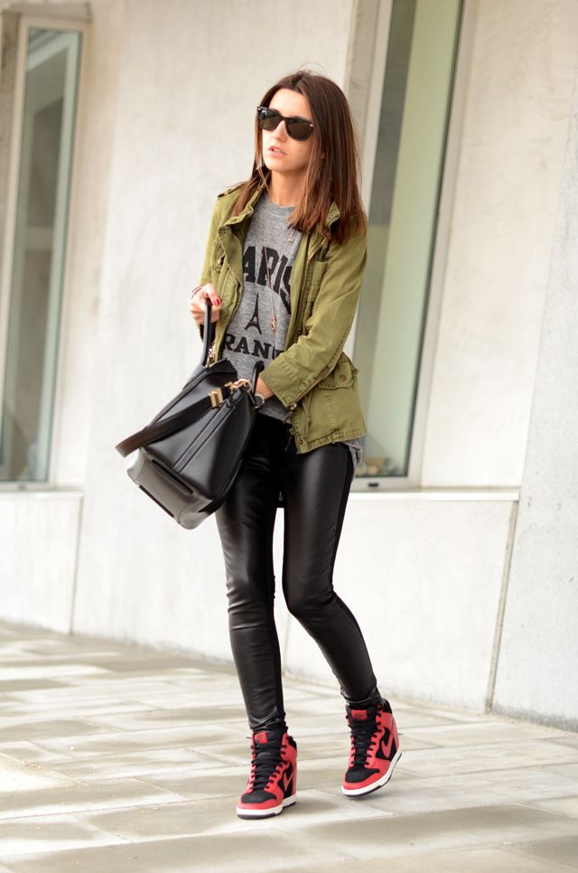 Casual Olive Army Green Jacket Grey T Shirt Black Leather Pants Sneakers 536c3453a6d51