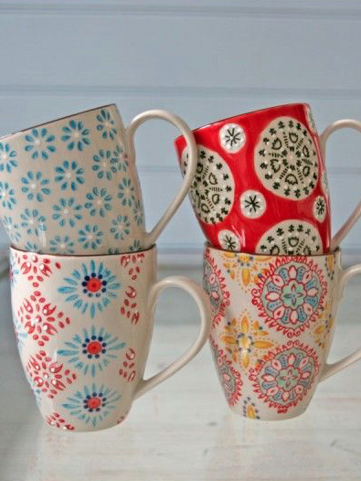 We love these pretty bohemian print mugs! #MrCoffee