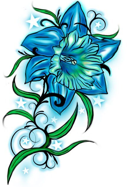 Blue Color Daffodil Tattoos Ideas For You Birth Flower Tattoos Blue Flower Tattoos Daffodil Tattoo