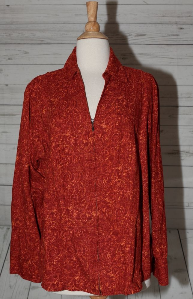 christopher & banks by c.j. banks 1x plus size orange zippered top