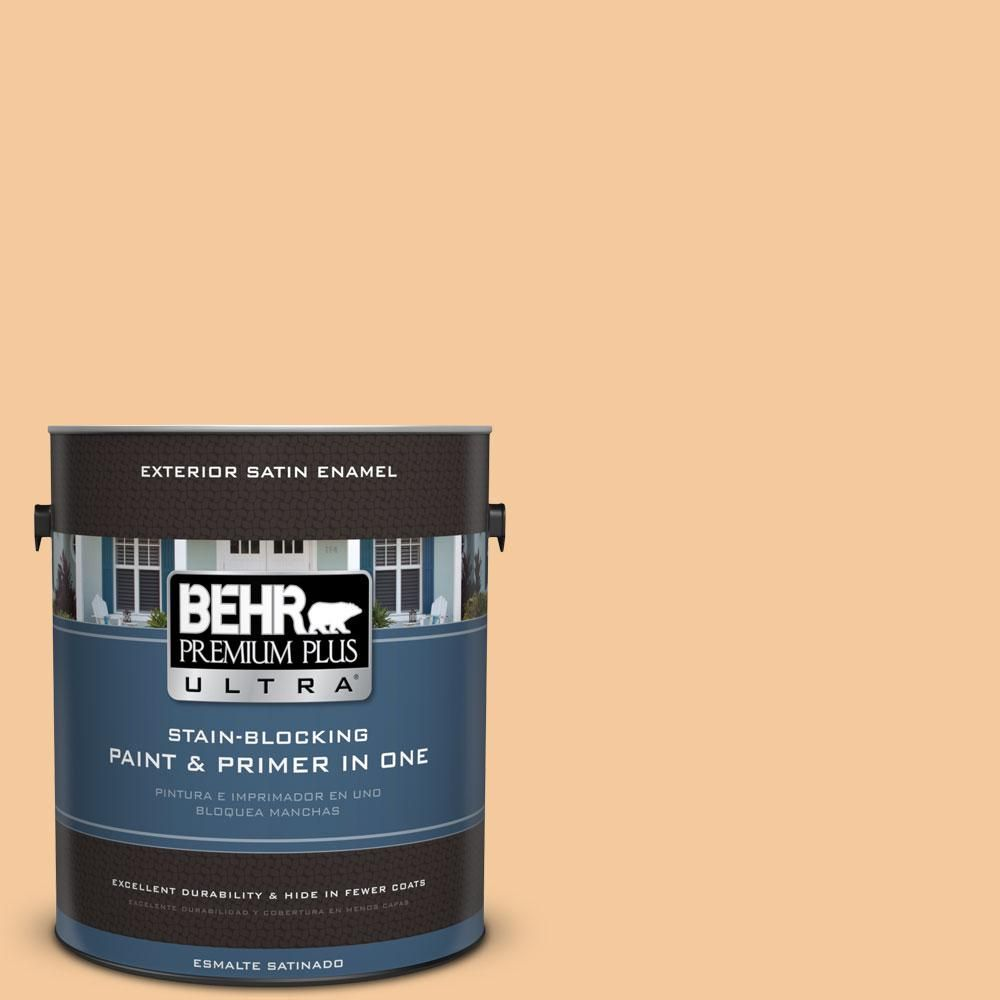 BEHR Premium Plus Ultra 1-gal. #M240-4 Sheer Apricot Satin Enamel Exterior Paint