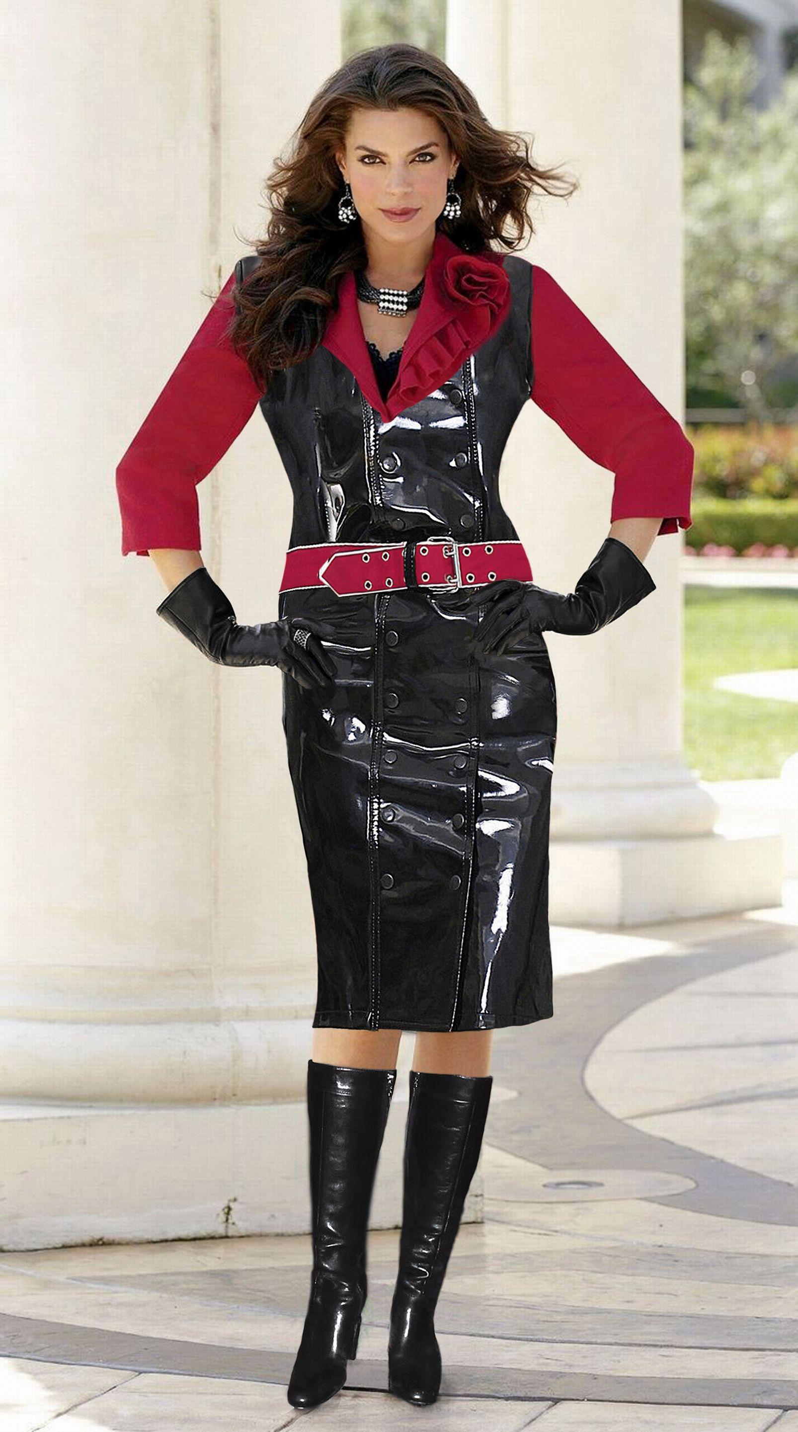 Brunette mistress win leather costume