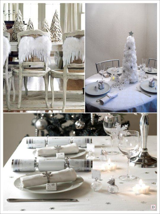 decoration table noel blanc argent ailes anges flocon sapin centre