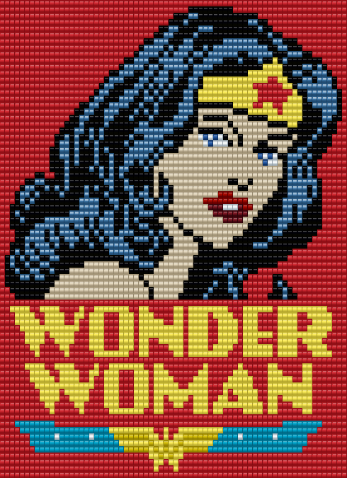 Wonder Woman Square Grid Pattern 70 Columns X 75 Rows (Pattern by me, Man in the Book)
