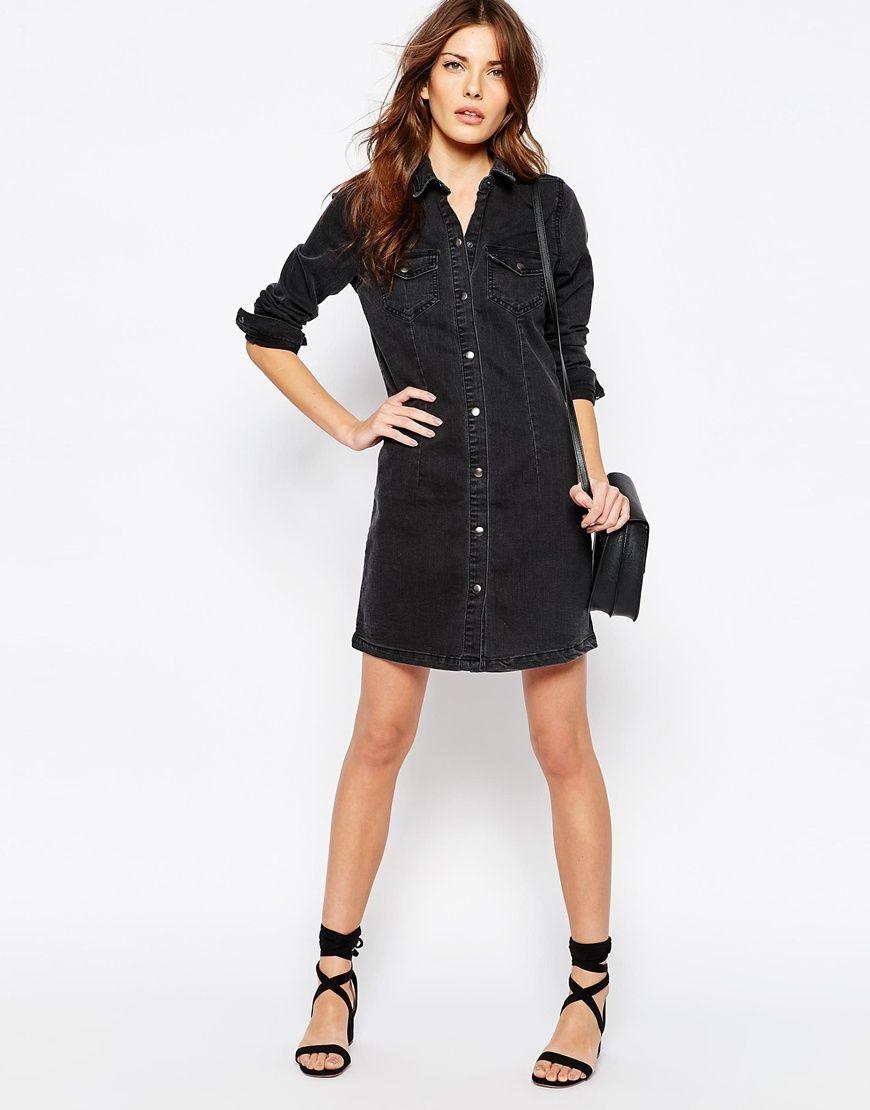 Dress Denim Fashion Black Vila Dresses Denim Washed xw4aAq1