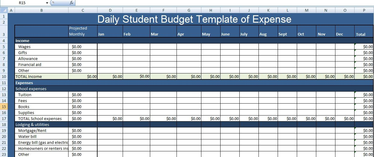 Daily Student Budget Template of Expense XLS
