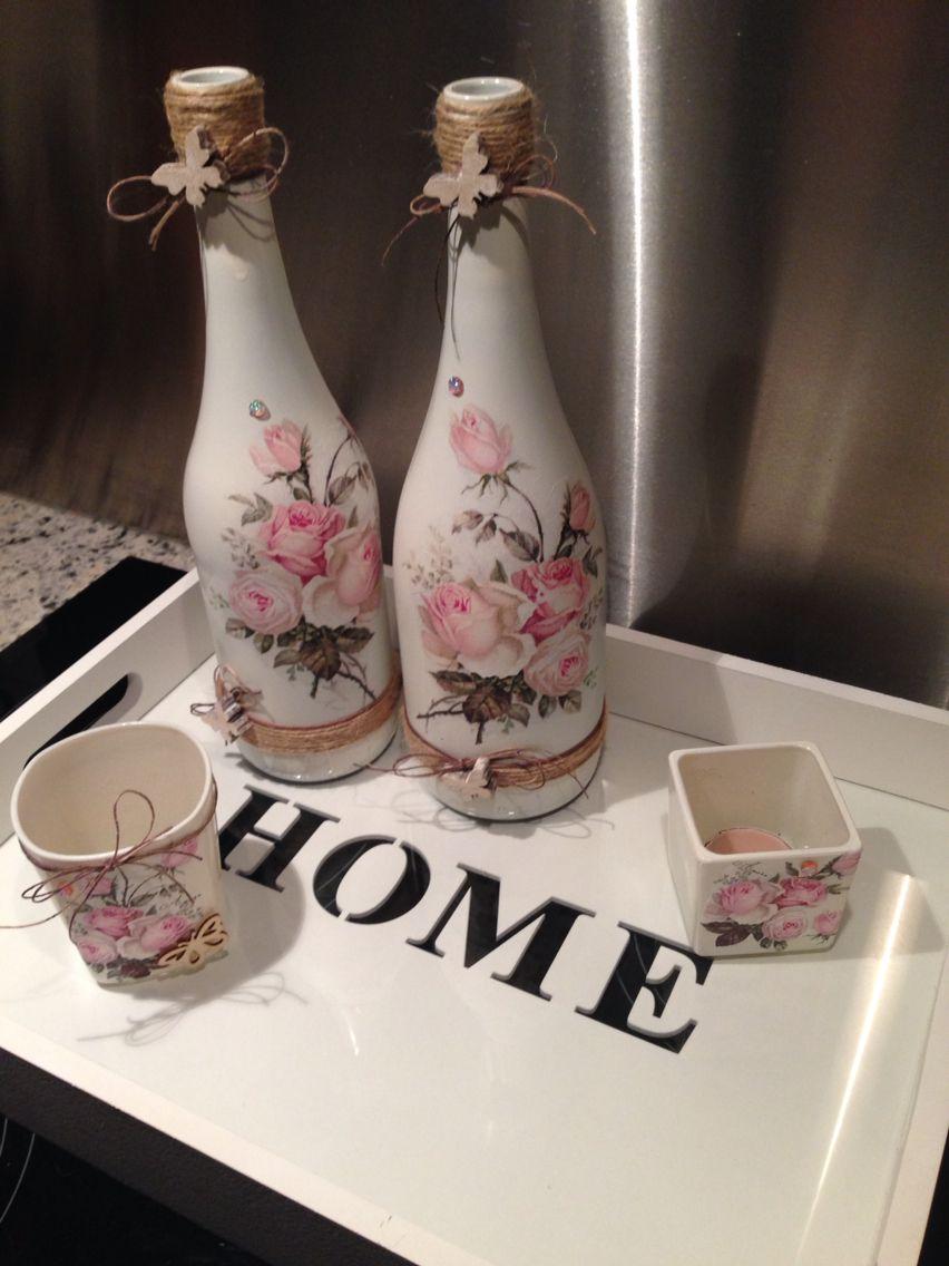 Flessen met servetten decoracion botellas pinterest for Envases de vidrio decorados