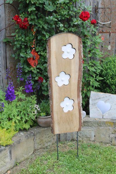 Gartenstelen Aus Holz gartendekoration - gartenstele, holz, getöpfert, gartendeko,hochzeit