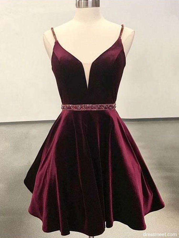 3a1a827cb8aa Cute A Line V Neck Open Back Velvet Burgundy Short Homecoming Dress ...