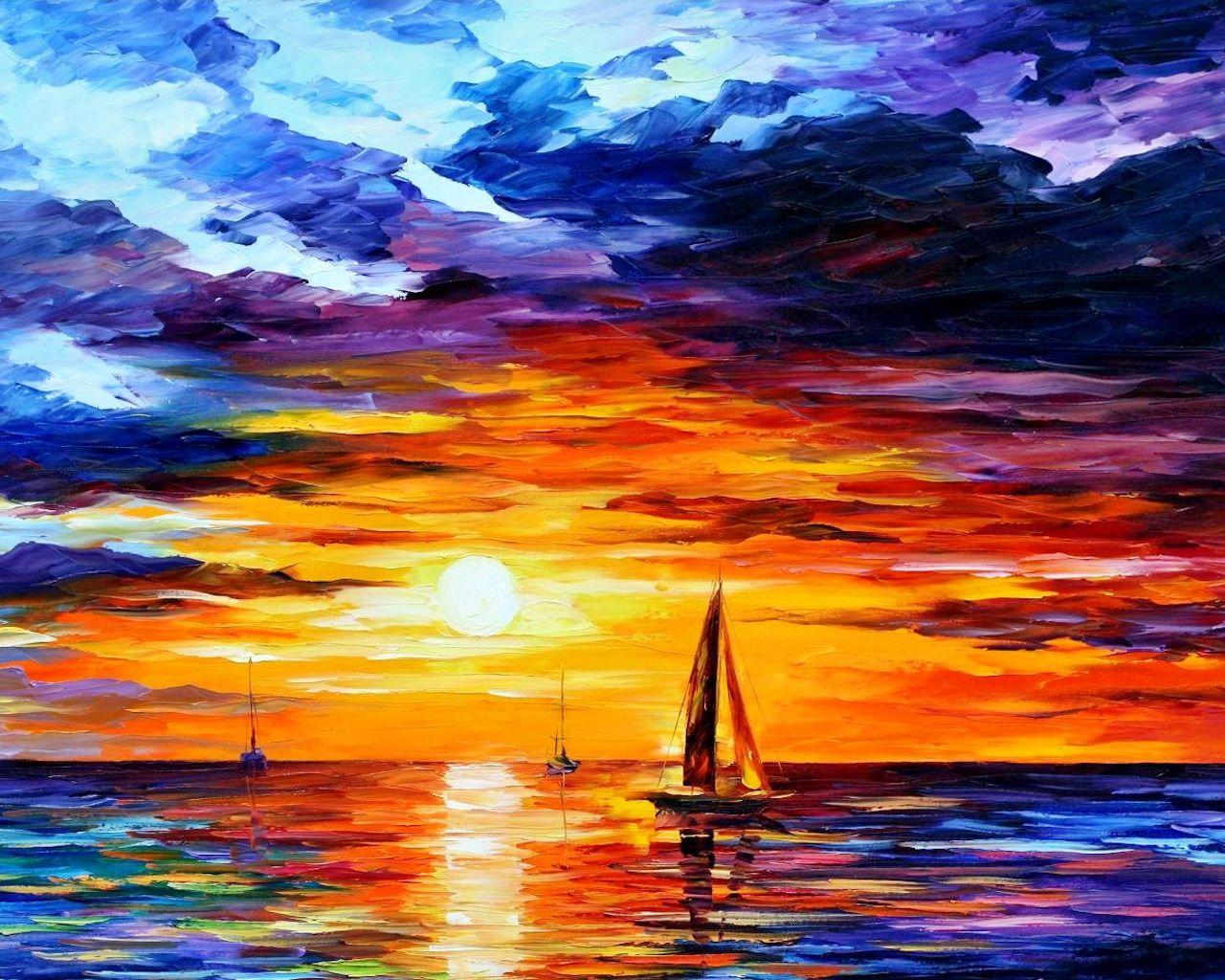 Beautifull Sunset Wallpapers Sunset Painting Ocean Painting