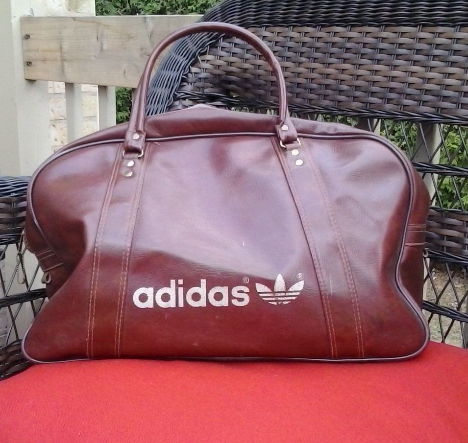 628acf550376 vintage ADIDAS gym bag carry-on Brown vinyl tote travel 70 s 80 s RETRO duffle  Authentic by Barostores on Etsy
