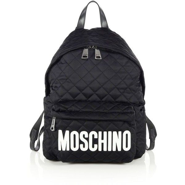 e42711e0cd Moschino Quilted Nylon Logo Backpack ( 710) ❤ liked on Polyvore featuring  bags