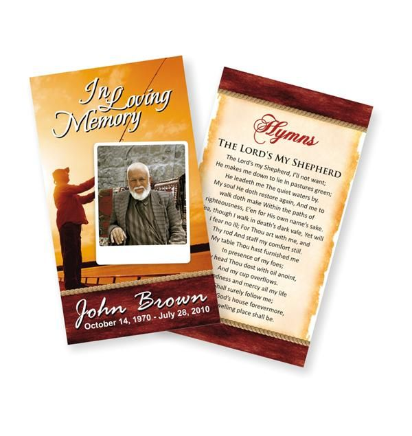 Funeral Prayer Cards (Small) Fishing #0002 Funeral Prayer Cards - funeral card templates free