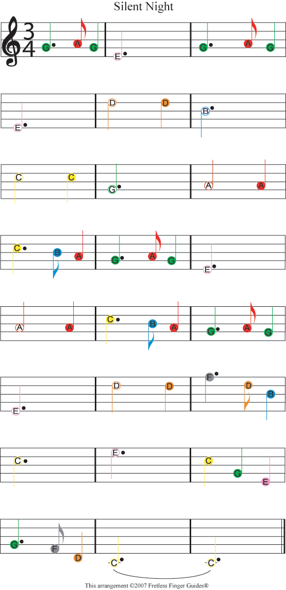 Easy Guitar Christmas Sheet Music Easy Guitar Songs Color Coded