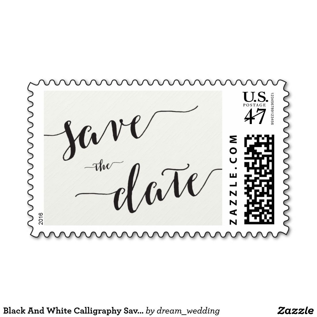 Black And White Calligraphy Save The Date Stamps