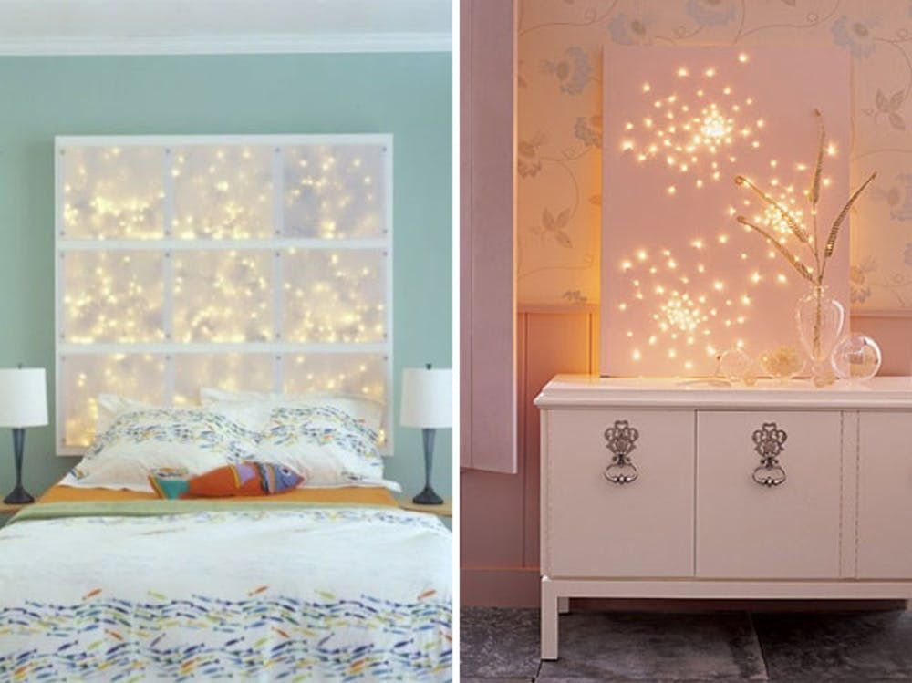 i love this glamorous diy lighting idea a canvas with fairy lights rh pinterest com