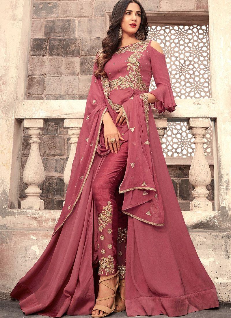 18e0e5c4bb Sonal Chauhan Onion pink georgette wedding anarkali Desi Clothes, Abaya  Style, Salwar Kameez Online