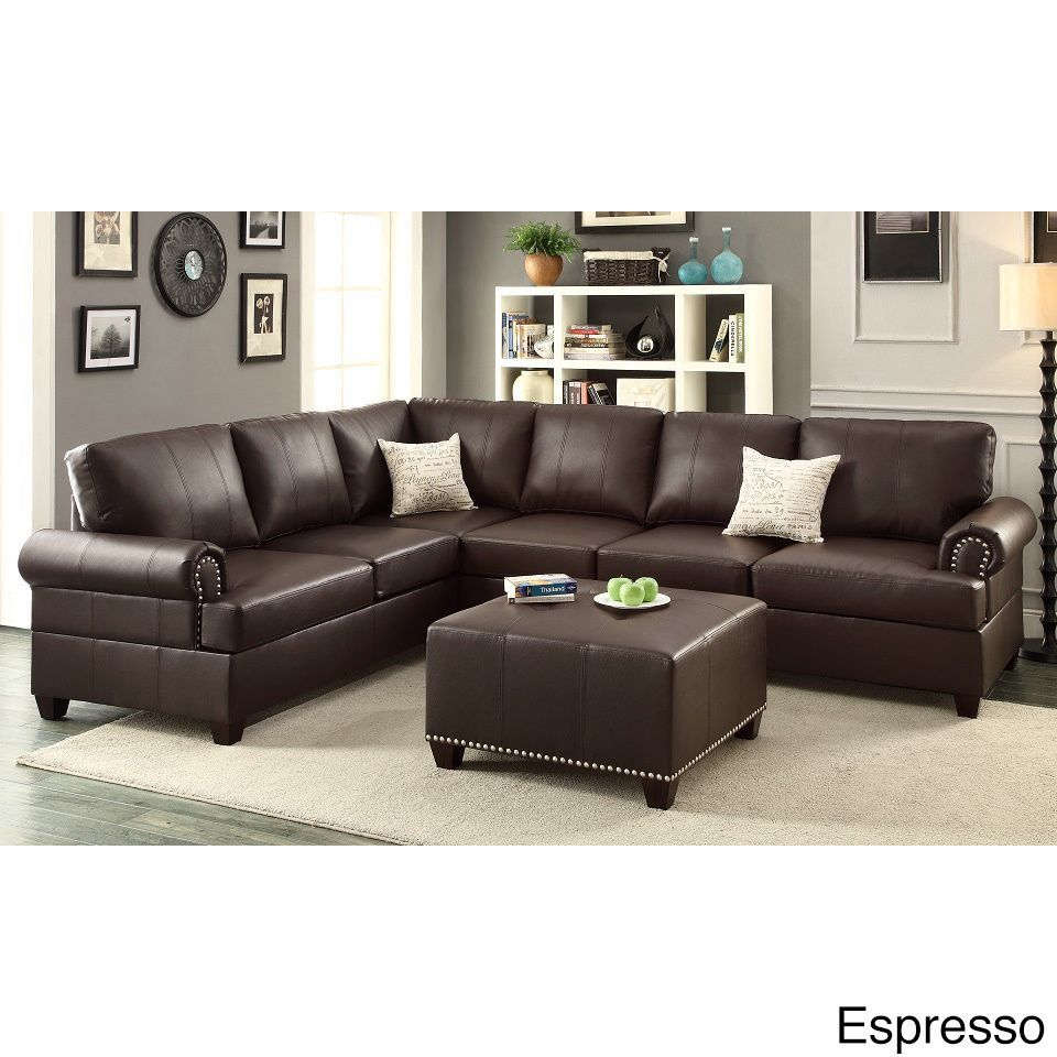 ottoman for living room%0A Poundex Barletta   Pieces Sectional Sofa with Ottoman Upholstered in Bonded  Leather  Black   Living Room