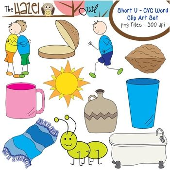 Short Vowel Cvc Word Clip Art Short U Vowel Sound Set Cvc