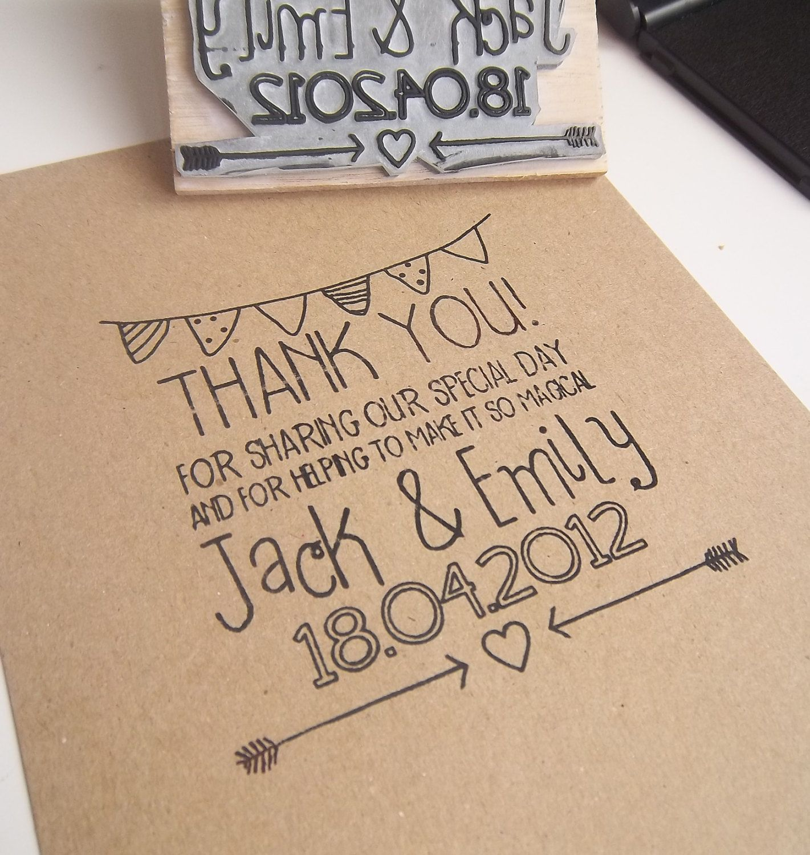 Custom Wedding DIY Thank You Rubber Stamp