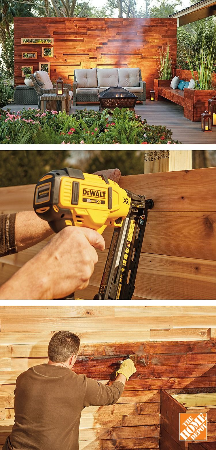 Made From Hardy Cedar, This DIY Privacy Wall Will Stand The Test Of Time.  The Patio Privacy Wall Features An Eye Catching Effect With Extra Wood  Added For ...