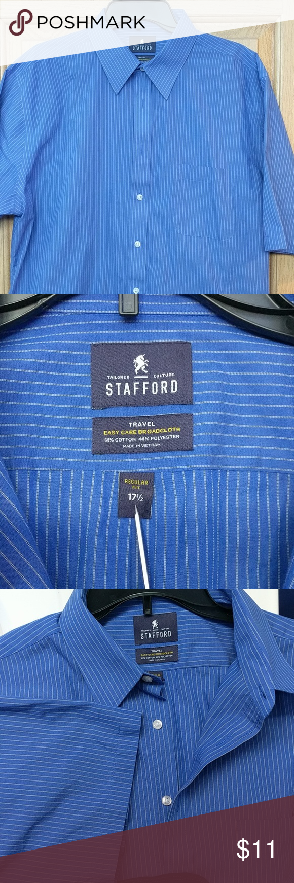 Stafford Mens Dress Shirt Mens Shirt Dress Shirt Dress Casual Shirts [ 1740 x 580 Pixel ]
