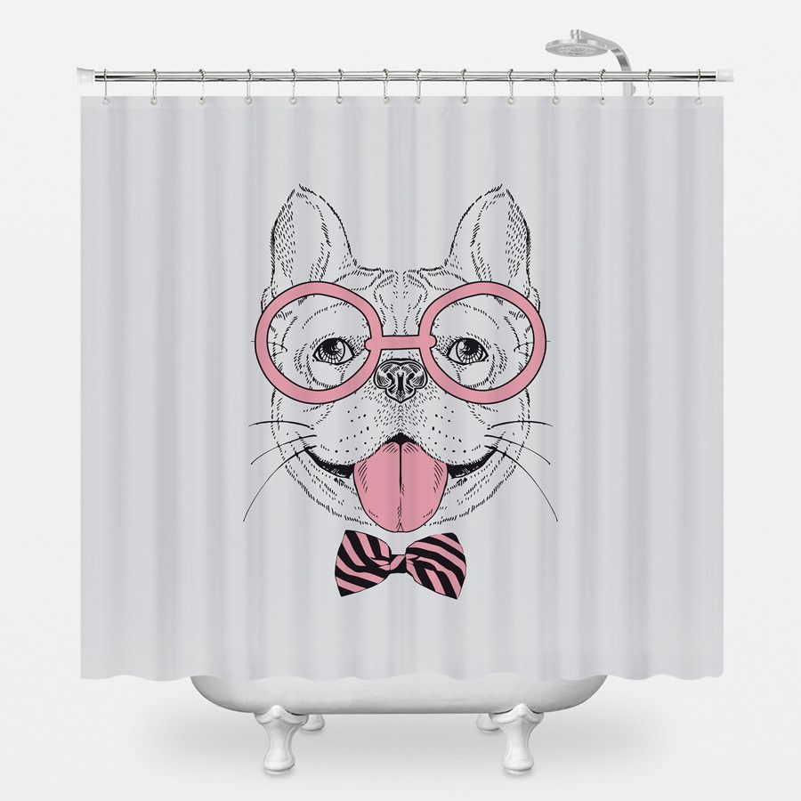 Preppy Pooch Shower Curtain