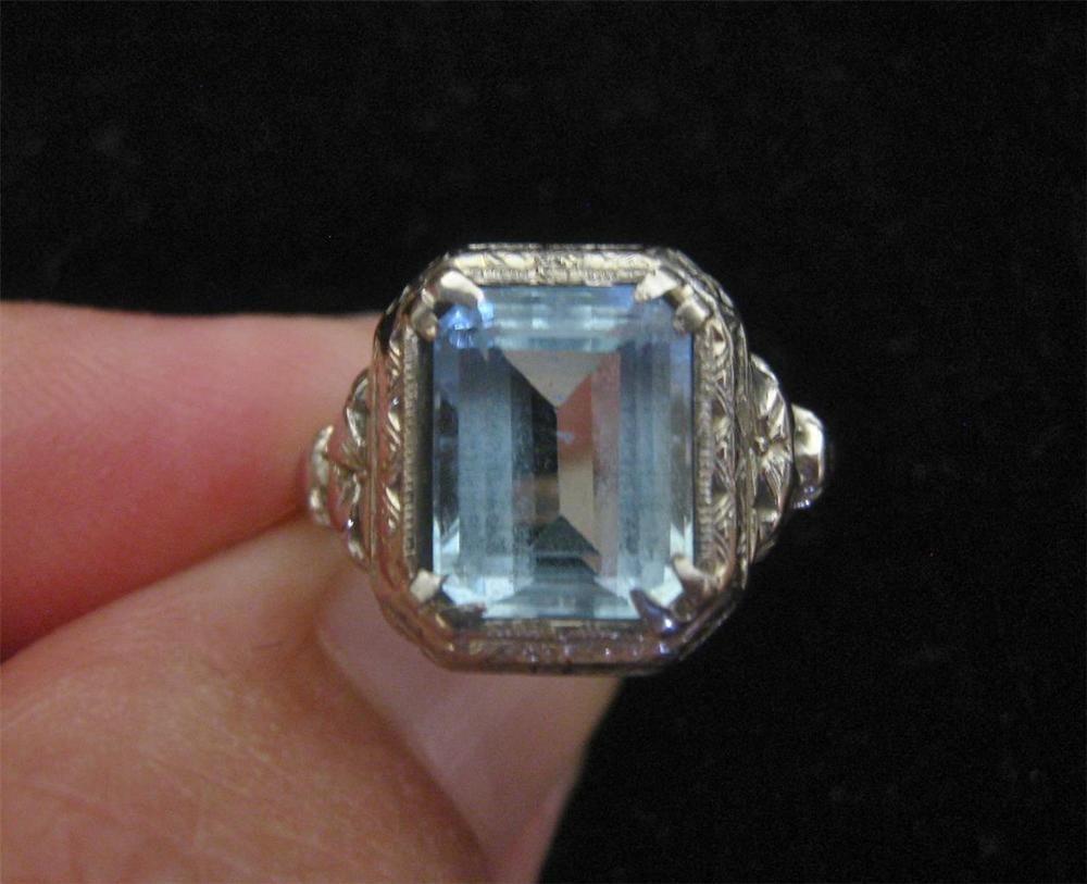 Vintage Art Deco 18k White Gold 4ct Aquamarine Ring Antique Size 6 #Unbranded #Solitaire