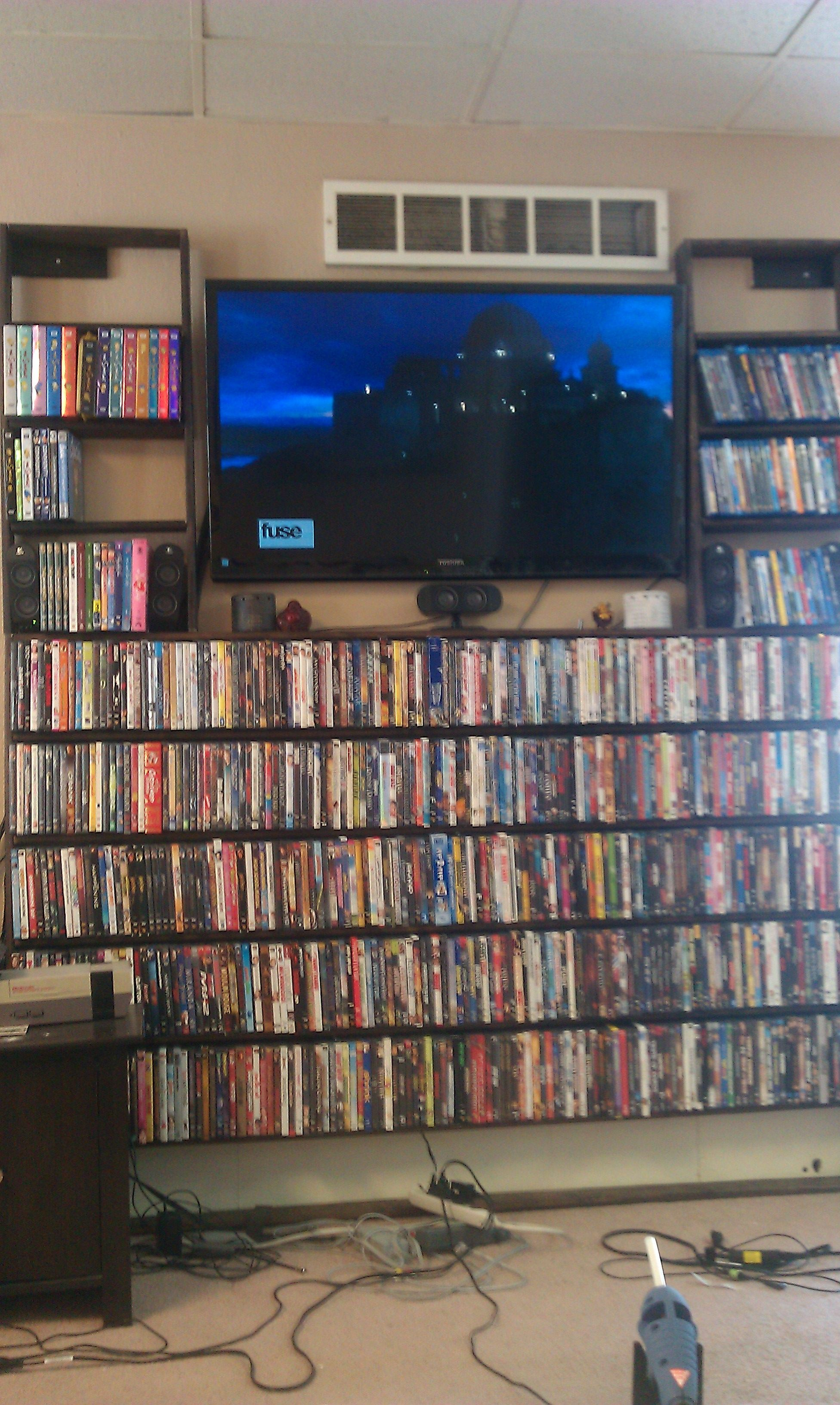 blu ray dvd shelves built around my flat screen in my living room i used only 1 x4 fur and. Black Bedroom Furniture Sets. Home Design Ideas