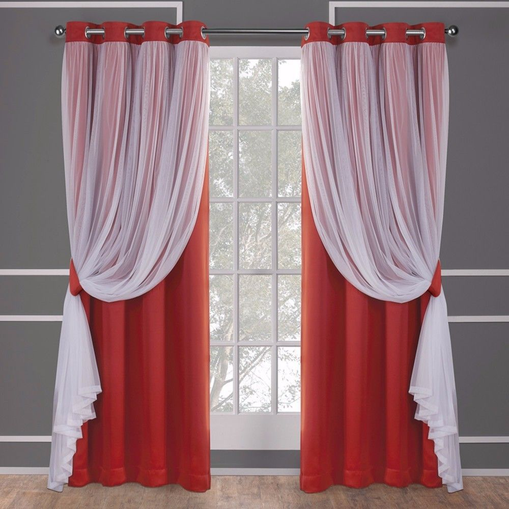 Caterina Layered Solid Blackout With Sheer Top Curtain Panels