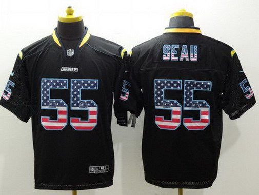 Men's San Diego Chargers #55 Junior Seau Black USA Flag Fashion NFL Nike Elite Jersey
