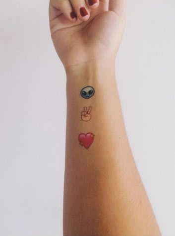 e4a4dc08b2e2 Emotis - Tattoonie  t4aw  tattooforaweek  emotis  tattoonie  emojis  alien   peace  heart