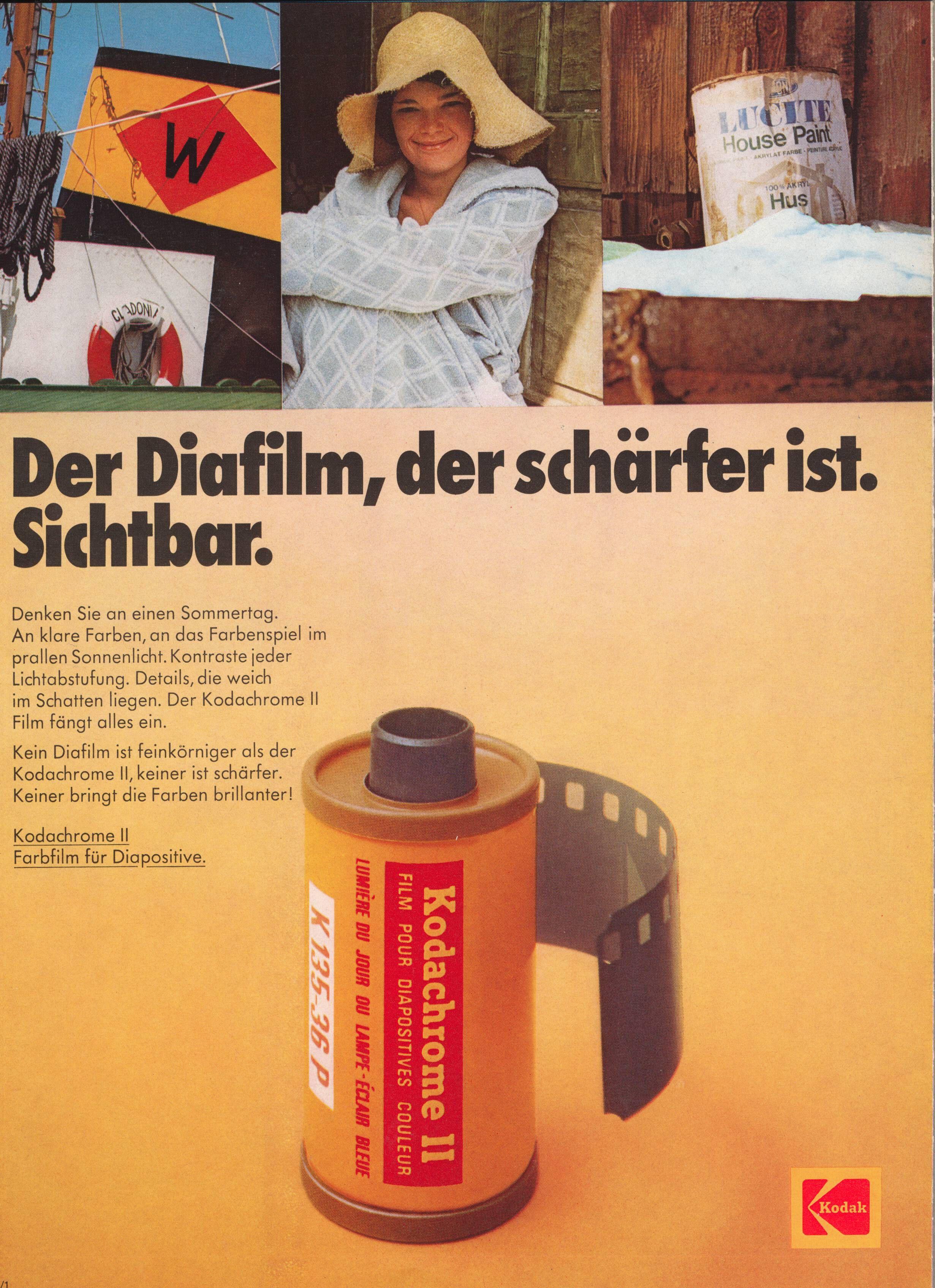 Kodak Kodachrome Ii Werbung Von 1973 Werbung Filme Farbenspiel