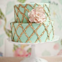 A gorgeous mint + gold cake featured in a perfectly romantic spring-inspired dessert table.