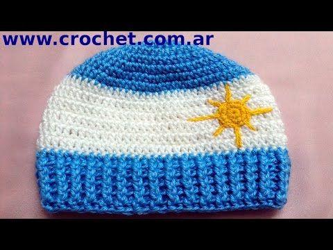 Gorro Argentino para niño en tejido crochet tutorial paso a paso ... 1d535627def