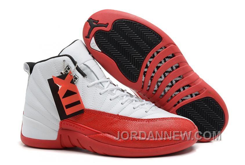 9beeeffad5b3e6 Mens Air Jordan 12 Retro White Varsity Red-Black Christmas Deals ...