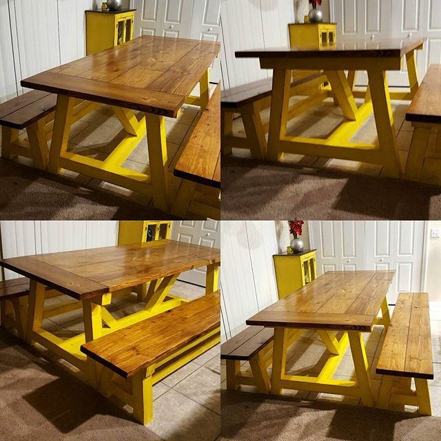 build and finish diy farmhouse table beautiful pop of color free rh pinterest com
