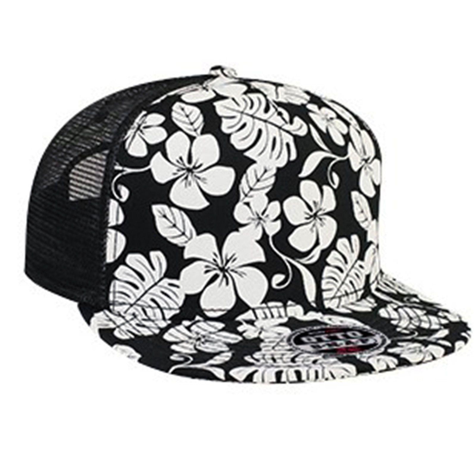 cac21d8bd87 Hawaiian Pattern Flat Bill Mesh Hat Floral Print Snapback Trucker Cap Flower