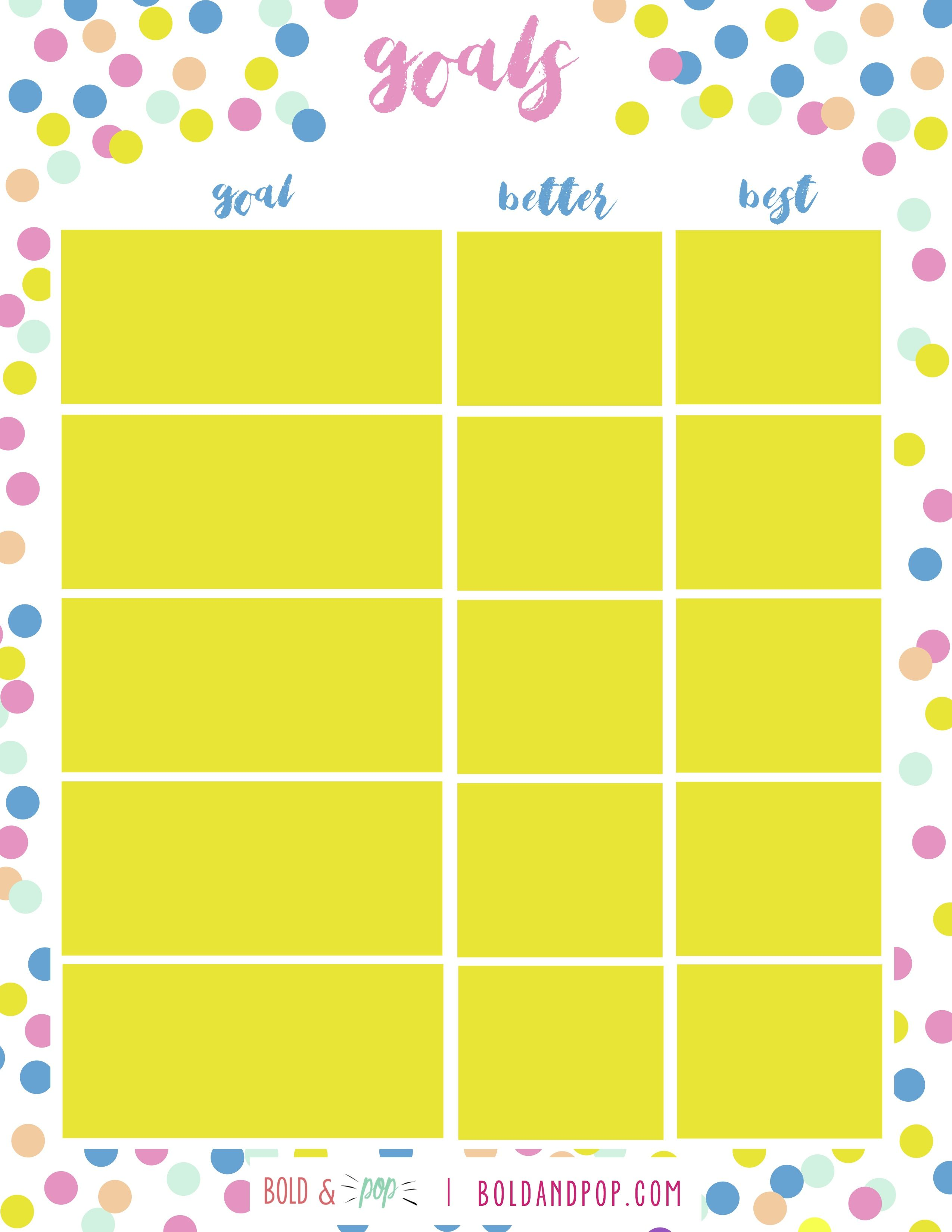 Free Download New Year S Goals Worksheet