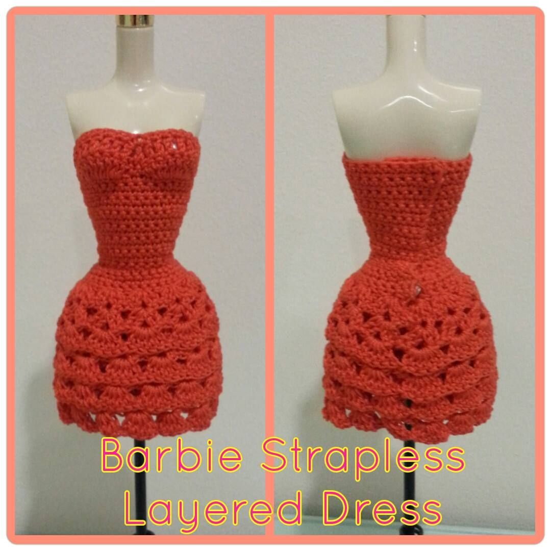 barbie strapless layered dress free crochet pattern