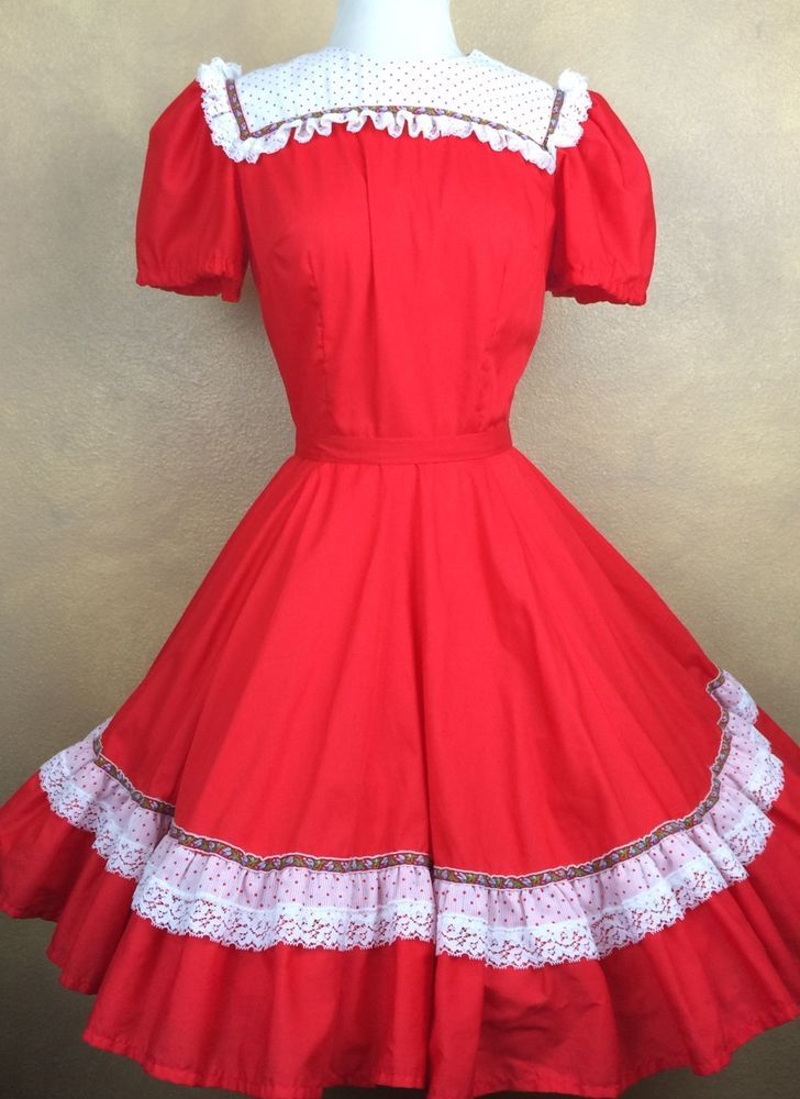 3fb3cba5e7 Square Dance Dress Partners Please Malco Red White Polka Dot Size 8   MalcoModes