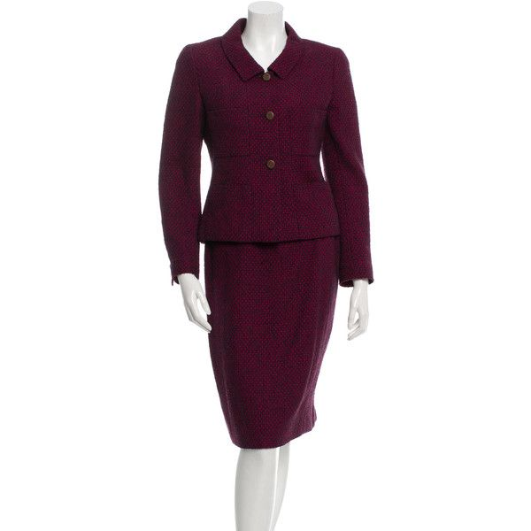 Pre-owned Chanel Wool & Silk-Blend Skirt Suit ($795) ❤ liked on Polyvore featuring suits