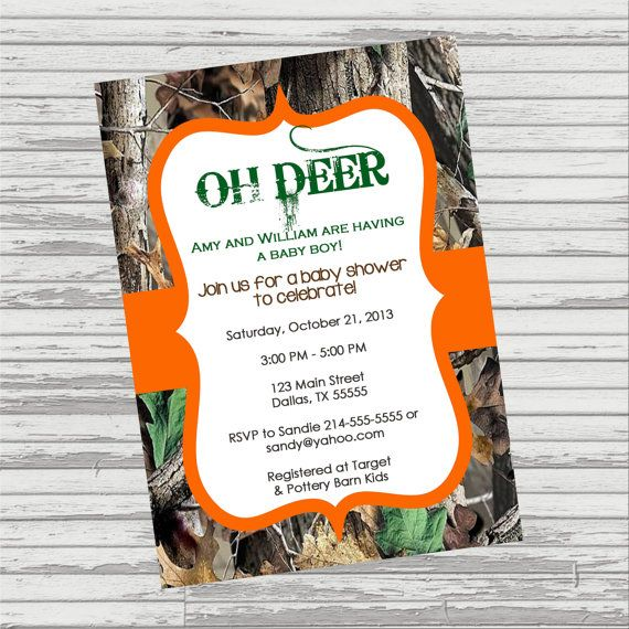 Oh deer real tree camo baby shower invitation or birthday party oh deer real tree camo baby shower invitation or birthday party invitation girl or boy filmwisefo