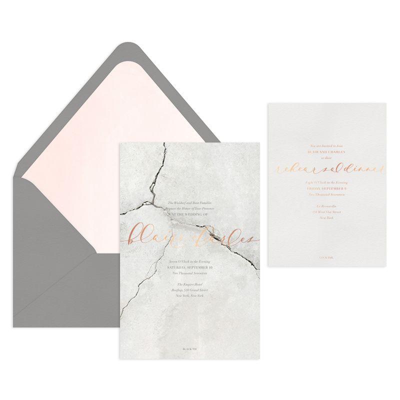 invitations for wedding reception wording%0A   Karats Invitation Suite   Stone   Foil Stamp   Letterpress   Mon Voir  Calligraphy