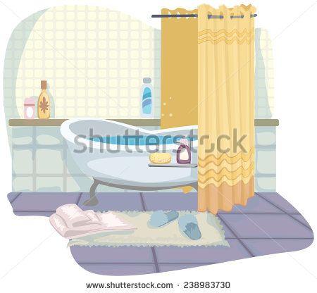 Pretty Cartoon Bathroom With Bath Vector Illustration Vector
