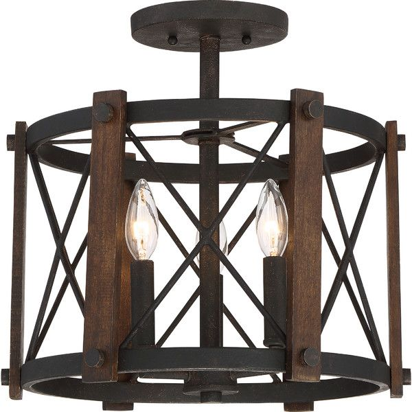 Mancos 3 Light 15 Quot Caged Geometric Semi Flush Mount