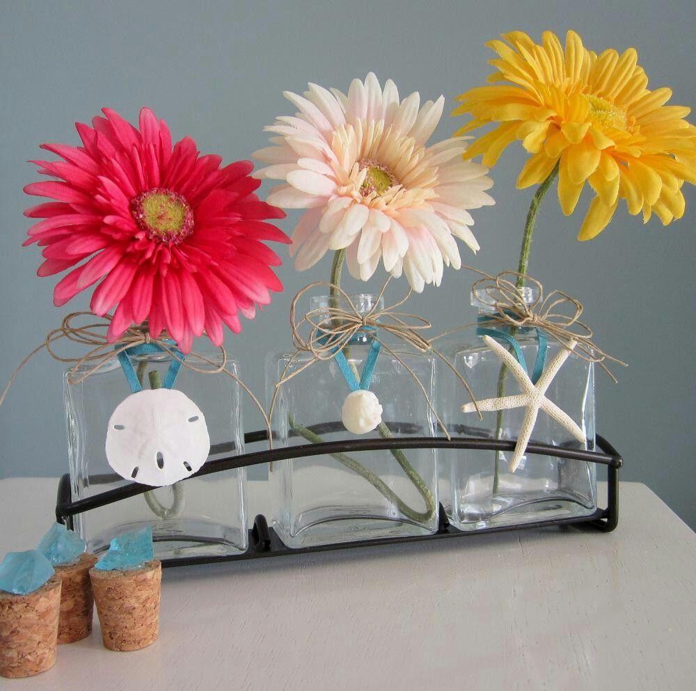 diy beach theme wedding centerpieces%0A Beach Decor Seashell  u     Starfish Vase Trio  Nautical Decor Vases in Metal  Holder