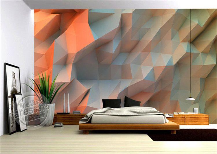 D creatieve ruimte oranje behang slaapkamer muurschildering